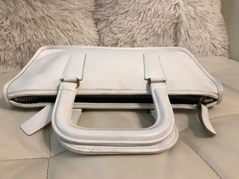 Authentic Vintage COACH BriefcaseWhite Leather Portfolio  1f394625ff9b8