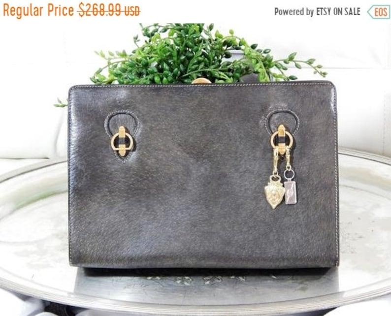 58362ba0f8feb Liquidation Free Ship Authentic GUCCI Handbag -Green Gray Calfskin -60s  Clutch-Red Leather Calfskin Lined-Gucci Pulls-Kisslock-Accordian Box