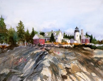 Pemaquid Point Light--- MAINE----Watercolor By Ray Lockhart