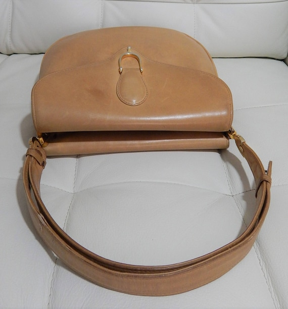 aa2e63ca754d4 Free Shipping Authentic GUCCI-Supple Camel Calfkin Leather-Equestrian Horse  bit-Double Sided Purse-Convertible-Leather Lined