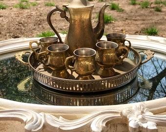 Superb Jahrgang Handgefertigte Massivem Messing Indien /TURKİSH ~ Blumenmuster  Geätzt ~ Einzigartige Kleine Messing Teekanne /