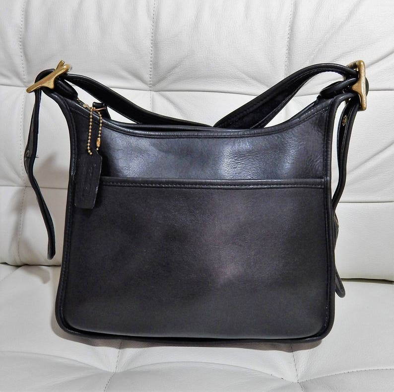 578ed9d86050 Free Shipping Authentic Vintage COACH -Legacy Crossbody Purse--Thick Rich Black  Leather Purse Big Brass Buckles- Made in the United States