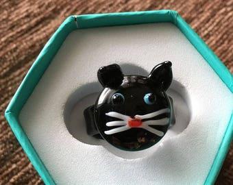 Vintage Glass Black Cat Ring