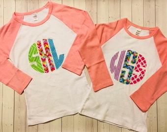 Monogram Shirt Personalized Circle Birthday For Babies Toddlers Girls