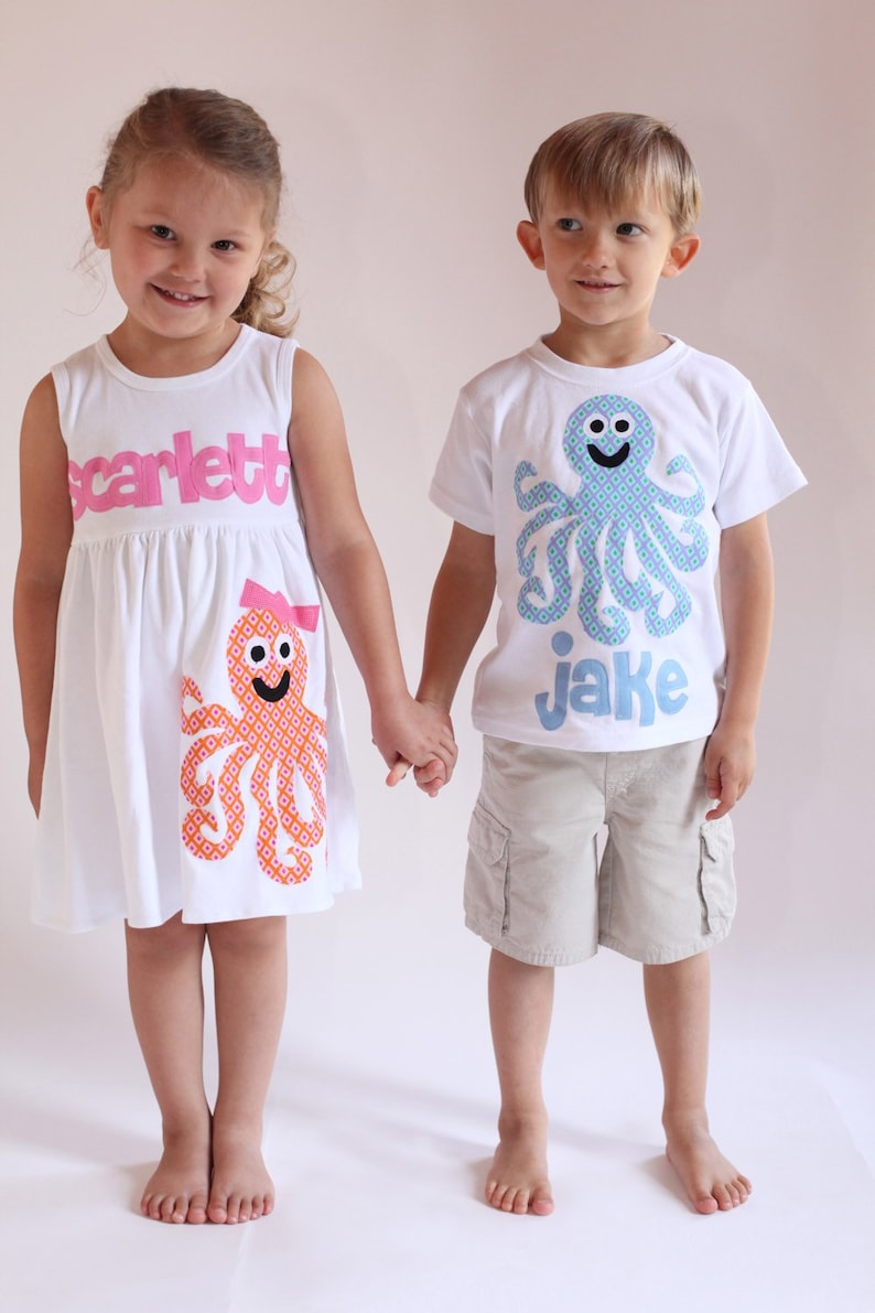 3b42f53265 Summer Matching Set Octopus Applique Beach Outfit Brother   Etsy