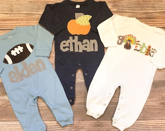 Fall Pumpkin Thanksgiving Holiday Baby Boy Romper/Personalized Romper/Baby Shower Gift/Baby Toddler Romper