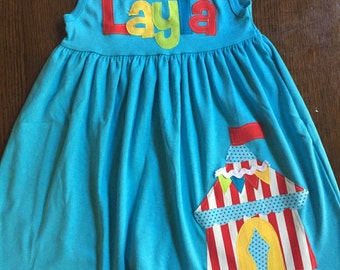 Circus Dress, Carnival Dress, Circus Tent Dres, Circus Birthday, Circus Applique-  You Choose Dress Color, Sleeve Length