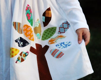 Applique Dress - Personalized Dress with Tree Applique - You Choose Dress Color and Sleeve Length