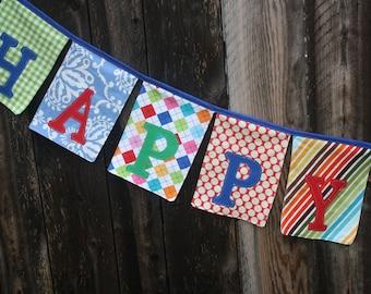 Happy Birthday Fabric Banner Bunting Garland