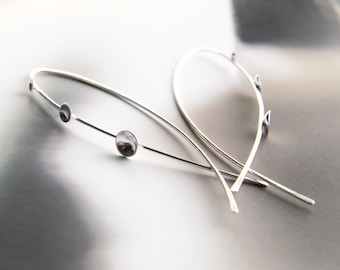"""modern dangle earrings -  unique sterling silver threader earrings unique -  """"clinging dew"""" handmade by lolide"""