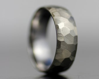 Men's wedding band - white gold or platinum hand faceted comfort fit wedding band for him or her - his his - hers hers - his hers