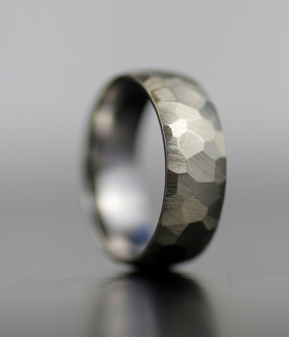 Men's Wedding Band White Gold Or Platinum Hand Faceted