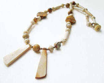 Boho Bead Macrame Necklace, Bone Bead Chic Hippie Tribal Style Jewelry, Knotted Natural Organic Beads