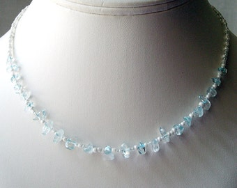 FINAL CLEARANCE!  Bead necklace, Semi-Precious Chips, Contemporary style, Crystal Blue Persuasion