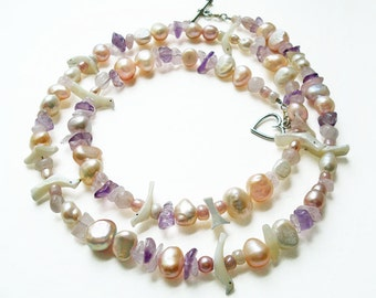 Pearl Necklace, Multi Gemstone Necklace, Mother of Pearl Carved Fetish Birds, Boho Chic Style