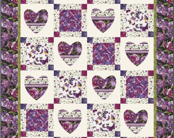 Hearts and Squares Twin Quilt ePattern, 4916-1, floral twin quilt, large motif fabric pattern, digital download