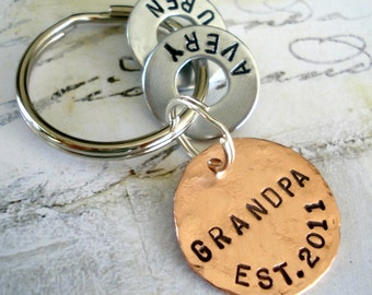Grandpa Gift Personalized Christmas Keychain with Names - Grandparent Birthday - Hand Stamped Key Chain GRANDPA EST. Washer and Copper Disc