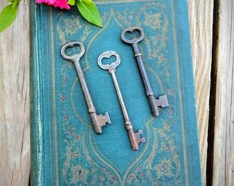 Antique Skeleton Keys - Set of 3 Rustic Skeleton Keys - Heart Key