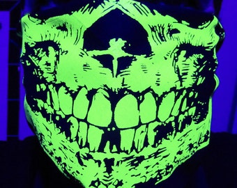 Neon Ganja Green Skull Bandana Face Mask With Glow In The