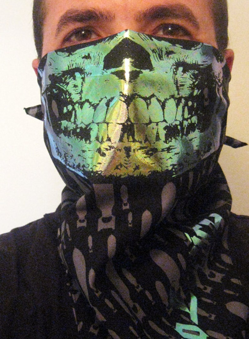 Zombie Apocalypse Holographic Skull Face silver bomb print black Bandana half Mask dust shield scarf Burning man cyberpunk fallout