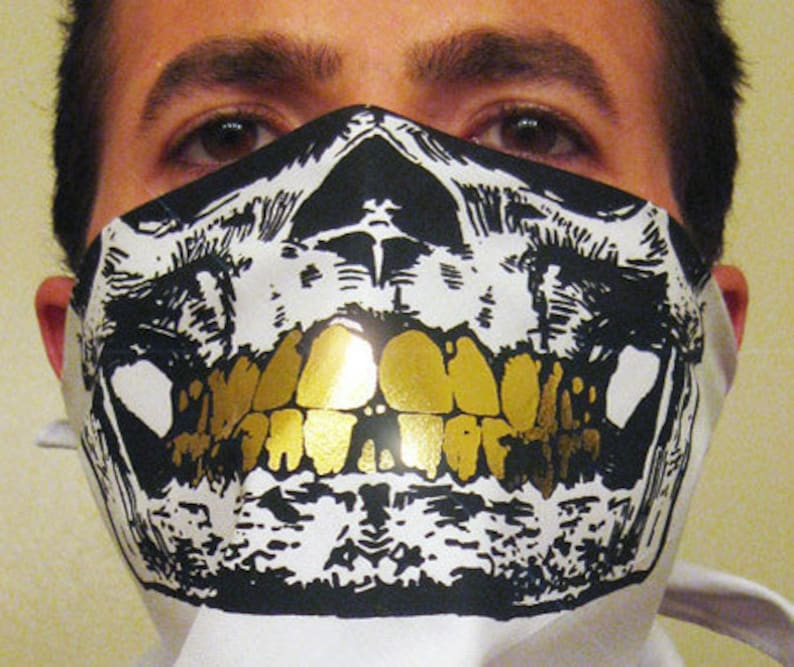 d797ac6cec8a White Bandana Black Skull Mask with all Gold Grillz Teeth