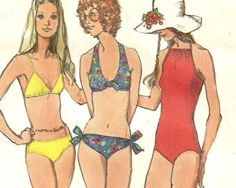 Vintage 1970s Swimsuit Pattern Bikini or One Piece Bust 36 Simplicity 9933 Size 14