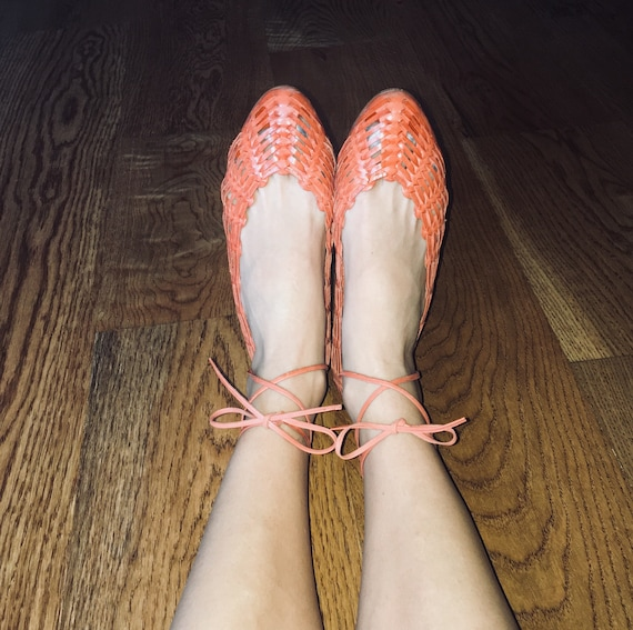 Ballet Leather Loafers 8 by Huaraches USA Nine Great Stephanie Kelian Condition Woven West Shoes Shoe 1990S Size Strappy 5q1tfxR