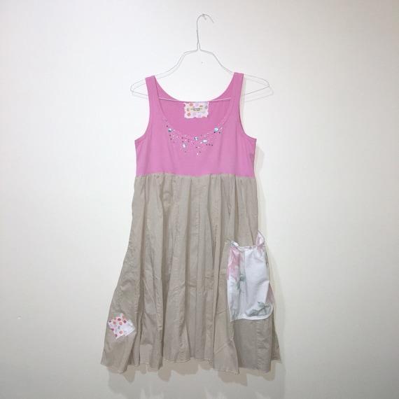 Dress amp; Clothing Twirly Dress Small Pink Upcycled Repurposed Pink Sleeveless Khaki Dress Dress Khaki Size for Medium Women 5B7wRqf
