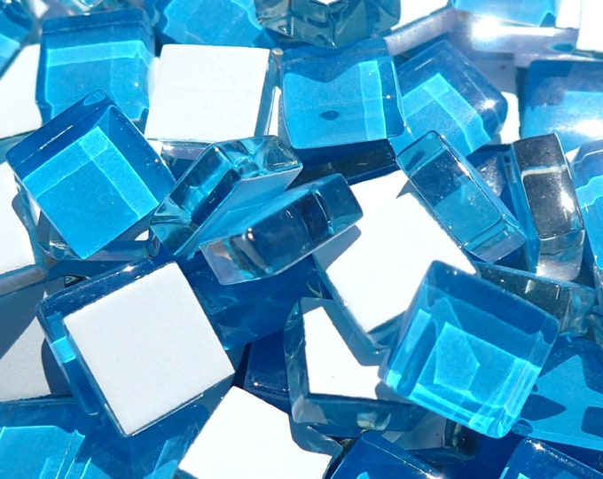 Pool Blue Glass Tiles - 1 cm - Crystal Mosaic Tiles - Set of 100