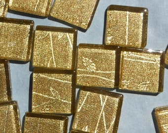 Tree Branches Gold Foil Square Tiles - 25 Glass Mosaic Tiles - 20mm