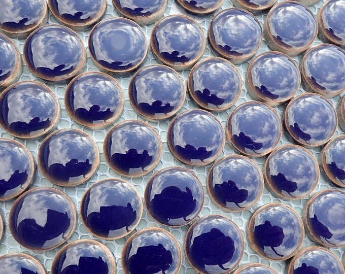 Dark Blue Ceramic Tiles - .75 inch - 25 Tiles - Circles Penny Rounds