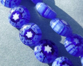 Blue and White Millefiori Glass Beads -  8mm