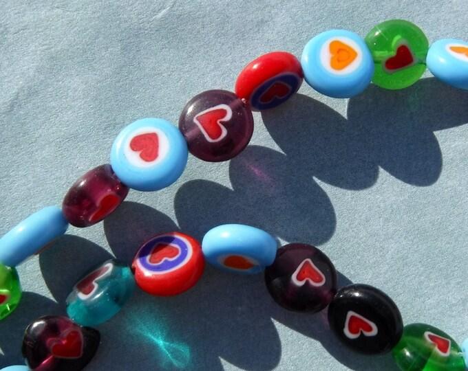 Heart Millefiori Glass Beads -  8mm - Use in Mosaics - Round Glass Jewelry Beads