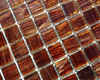 Brown with Gold Vein Glass Mosaic Tiles Squares - 3/4 inch - 25 Tiles