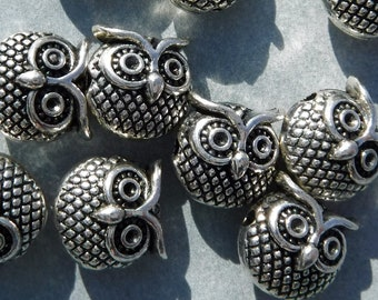 Metal Owl Beads - Silver-Toned 11mm Round Puffy - 10 Beads