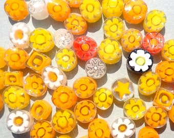 Yellow Millefiori - 25 grams - Unique Mosaic Glass Tiles - Mix of Different Floral Patterns