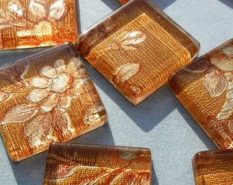 Dark Gold and Copper Tapestry Foil Square Tiles - 25 Glass Mosaic Tiles - 20mm
