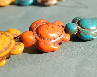 Colorful Sea Turtles Stone Beads - Set of 10