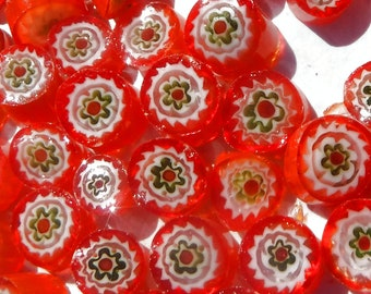 Orange with Green Millefiori - 25 grams -  Floral Pattern
