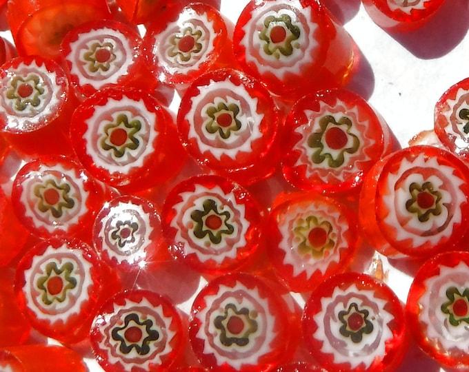 Orange with Green Millefiori - 25 grams -  Floral Pattern