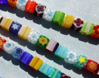 Small Square Millefiori Glass Beads - 4mm Cubes - Approx 100 beads