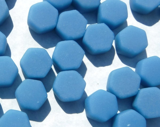 Cerulean Blue Hexagon Mosaic Tiles - 10mm - 50g Opaque Glass Tiles MATTE Finish