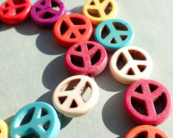 Colorful Peace Symbol Beads - 15mm - Set of 10