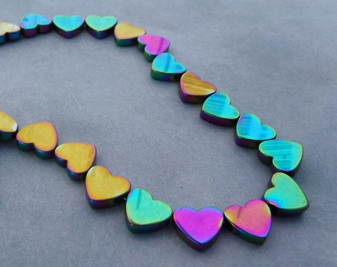 Heart Beads - Colorful Metallic - 8mm - Electroplated Hematite