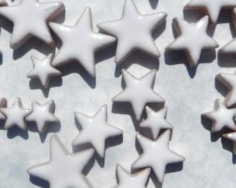 White Stars Tiles - 50g Ceramic in Mix of 3 Sizes - 20mm, 15mm, 10mm