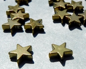 Star Beads - Gold Toned - 8mm - Electroplated Hematite - 20g