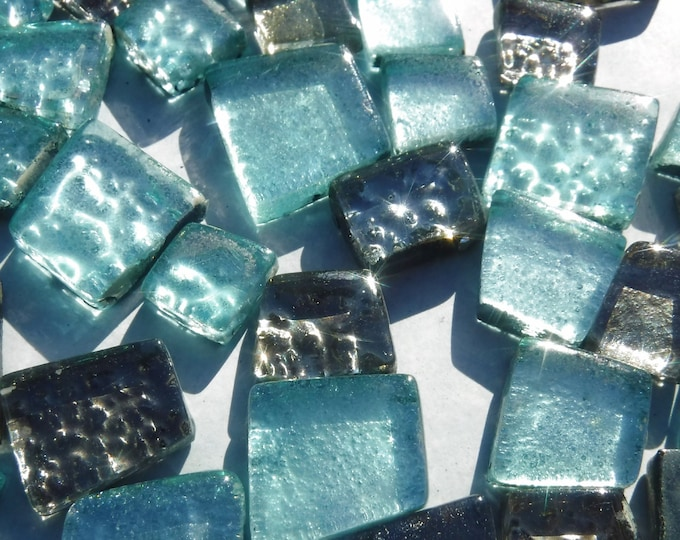 Teal and Silver Glass Tiles - Assorted Shapes - 50 grams - Titania Frost