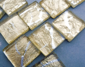 Gold with Silver Foil Square Tiles - 25 Glass Mosaic Tiles - 20mm