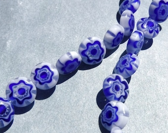 White and Blue Millefiori Glass Beads -  8mm