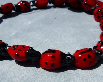 Red Ladybug Glass Beads - 19 Lampwork Beads - 12mm